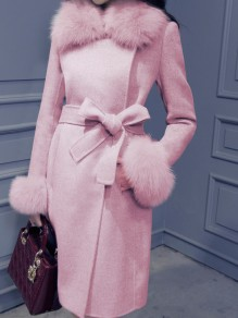 Pink Fur Sashe Turndown Collar Long Sleeve Elegant Wool Coat