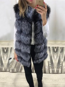 Silver Faux Fur V-neck Sleeveless Fashion Oversize Coat