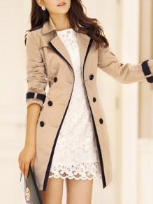 Khaki Patchwork Lace Skirted Peacoat Long Sleeve Fashion Outerwears
