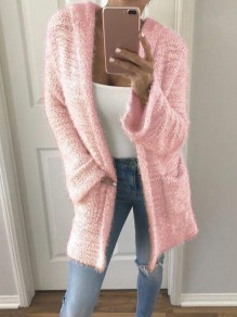 Pink Pocket Long Sleeve Hooded Sweet Cardigan Outerwear