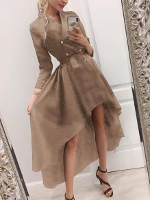 Khaki Irregular Double Breasted Sashes Swallowtail High-low Turndown Collar Elegant Trench Coat