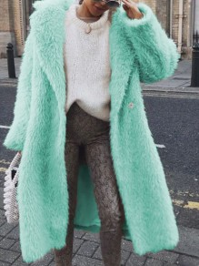 Green Buttons Turndown Collar Long Sleeve Fluffy Teddy Coat Long Outerwear
