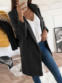 Schwarz Umlegekragen Blazer Wollmantel Winter Warmer Mantel Damen Outfit