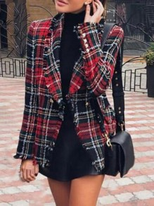 Red-Black Plaid Pockets Double Breasted Turndown Collar Casual Preppy Blazer Wool Coat