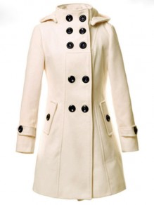 Apricot Button Pocket Turndown Collar Long Sleeve Elegant Wool Coat