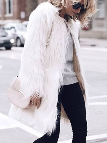 White Faux Fur Round Neck Long Sleeve Elegant Long Cardigan Coat Outerwear
