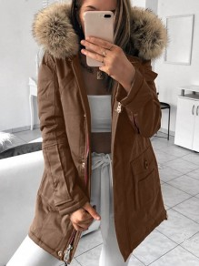 Brown Pocket Fur Zipper Hooded Long Sleeve Fashion Padded Coat