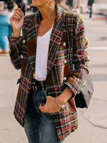 Coffee Plaid Pockets Double Breasted Turndown Collar Casual Preppy Blazer Wool Coat