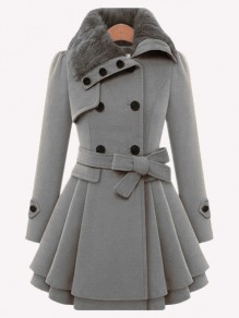 Grey Double Breasted Bow Turndown Collar Long Sleeve Fashion Wool Coat