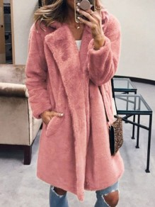 Pink Faux Fur Pocket Oversized Turndown Collar Long Sleeve Outerwear