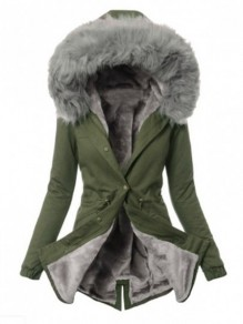 Army Green Grey Fur Pocket Hooded Long Sleeve Fashion Padded Coat