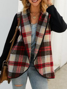 Red-Khaki Plaid Irregular Turndown Collar Christmas Party Cardigan Wool Coat