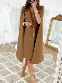 Coffee Pockets Double Breasted Turndown Collar Elegant Cape Coat