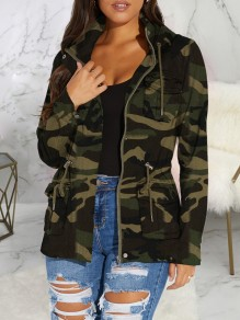 Green Camouflage Print Zipper Pockets Hooded Long Sleeve Casual Coat Outerwear