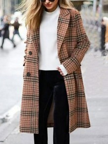 Camel Plaid Button Turndown Collar Long Sleeve Elegant Wool Coat