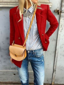 Red Button Turndown Collar Long Sleeve Elegant Blazer Wool Coat