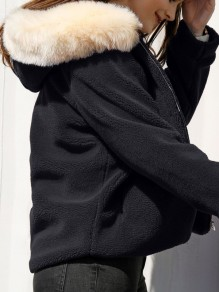 Black Faux Fur Pocket Hooded Long Sleeve Fashion Coat