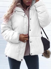 White Zipper Turndown Collar Long Sleeve Fashion Padded Coat