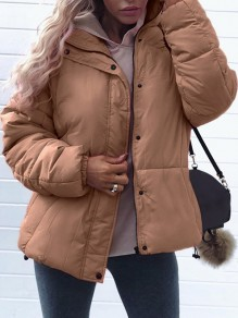 Khaki Zipper Turndown Collar Long Sleeve Fashion Padded Coat