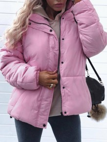 Pink Zipper Turndown Collar Long Sleeve Fashion Padded Coat