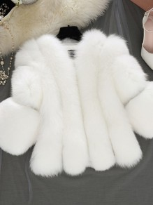 White Faux Fur Round Neck Long Sleeve Elegant Outerwear