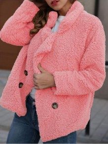 Pink Double Breasted Turndown Collar Teddy Fuzzy Cardigan Wool Coat