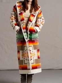 Khaki Geometric Pattern Long Sleeve Christmas Hooded Cardigan Coat