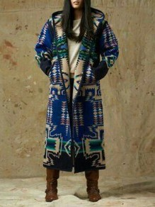 Blue Geometric Pattern Long Sleeve Christmas Hooded Cardigan Coat