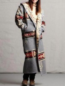 Grey Geometric Pattern Long Sleeve Christmas Hooded Cardigan Coat