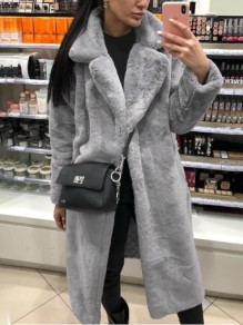 Grau Faux Fur Langarm Warme Dicke Fellimitat Pelzmantel Wintermantel Damen Mode
