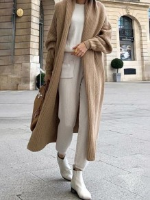 Khaki Turndown Collar Long Sleeve Fashion Cardigan Sweater