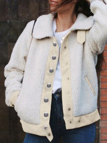 White Patchwork Single Breasted Pockets Turndown Collar Long Sleeve Teddy Coat
