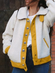 Yellow White Patchwork Single Breasted Pockets Turndown Collar Long Sleeve Teddy Coat