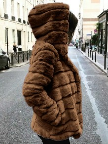 Brown Faux Fur Pockets Hooded Long Sleeve Oversize Fashion Coat