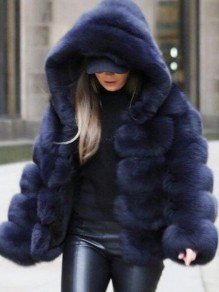 Navy Blue Fuzzy Faux Rabbit Fur Hooded Bubble Fur Coat Long Sleeve Casual Outerwear