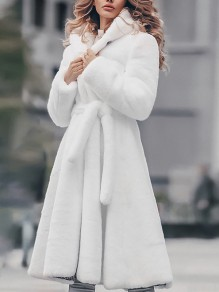 White Faux Fur Sashes Hooded Long Sleeve Oversize Elegant Coat