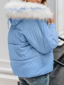 Light Blue Pocket Fur Zipper Hooded Long Sleeve Fashion Padded Coat