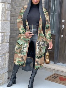Green Camouflage Print Pockets Turndown Collar Long Sleeve Long Coat