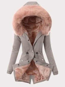 Grey Pink Drawstring Pockets Buttons Faux Fur Hooded Long Sleeve Padded Coat