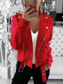 Red Patchwork Zipper Buckles Pastel Long Sleeve Fashion Outerwear