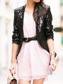 Black Sequin Glitter Sparkly Long Sleeve Elegant Blazer