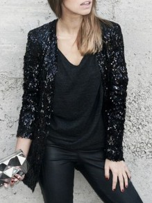 Black Sequin Glitter Sparkly Long Sleeve Elegant Formal NYE Party Blazer