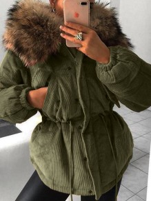 Green Pocket Fur Zipper Hooded Long Sleeve Fashion Padded Coats