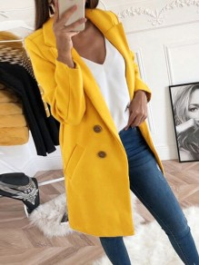 Bright Yellow Double Breasted Pockets Turndown Collar Long Sleeve Wool Coat