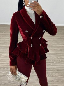 Burgundy Ruffle Double Breasted Turndown Collar Peplum Velvet Pleuche Elegant Party Coat