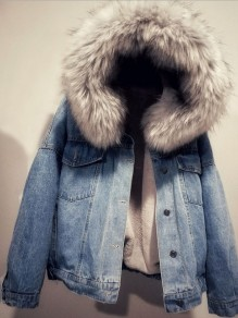 Blue Button Lamb Wool Long Sleeve Fur Hooded Fashion Jean Coat