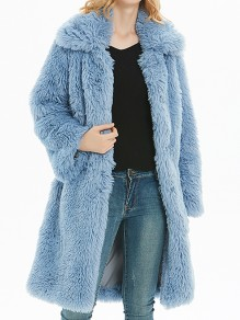 Hellblau Umlegekragen Faux Fur Langarm Dicker Warmer Wintermantel Pelzmantel Damen Mode