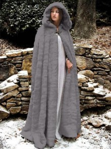 Grey Draped Faux Fur Hooded Pagan Cloak Elegant Party Outerwear Coat
