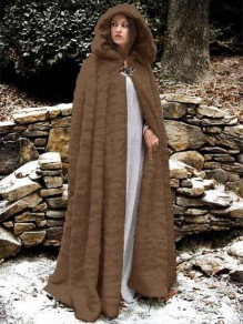 Brown Draped Faux Fur Hooded Pagan Cloak Elegant Party Outerwear Coat