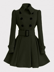 Army Green Double Breasted Pockets Long Sleeve Elegant Wool Coat